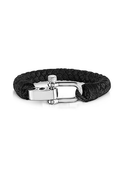 Black Woven Rope Men's Bracelet - Forzieri