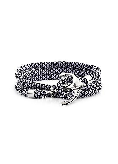 Triple Bracelet Homme en Toile Tressée Blanche/Noire avec Ancre en Métal - Forzieri