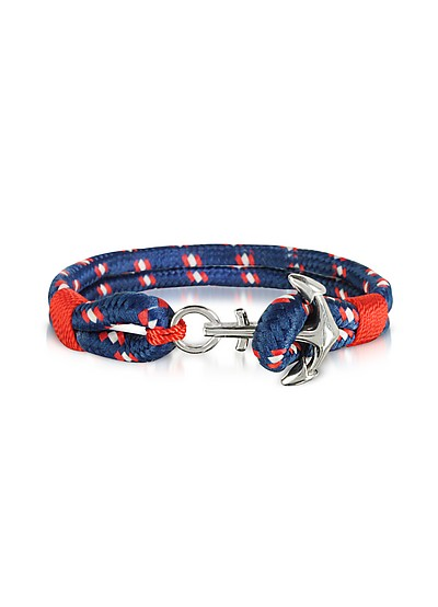 Blue and Red Men's Rope Bracelet - Forzieri