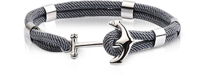 Dark Gray Nautical Rope Double Bracelet w/Anchor - Forzieri