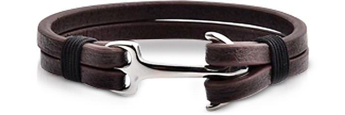 Brown Leather Men's Double Bracelet w/Anchor - Forzieri