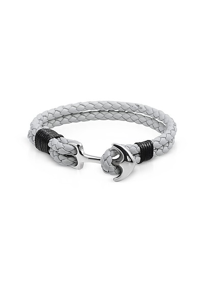 Light Gray Leather Men's Bracelet w/Anchor - Forzieri
