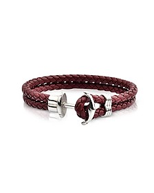 Light Brown Leather Men's Bracelet w/Anchor