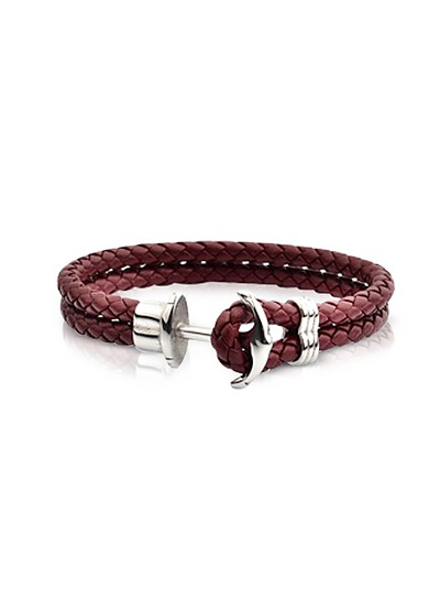Light Brown Leather Men's Bracelet w/Anchor - Forzieri