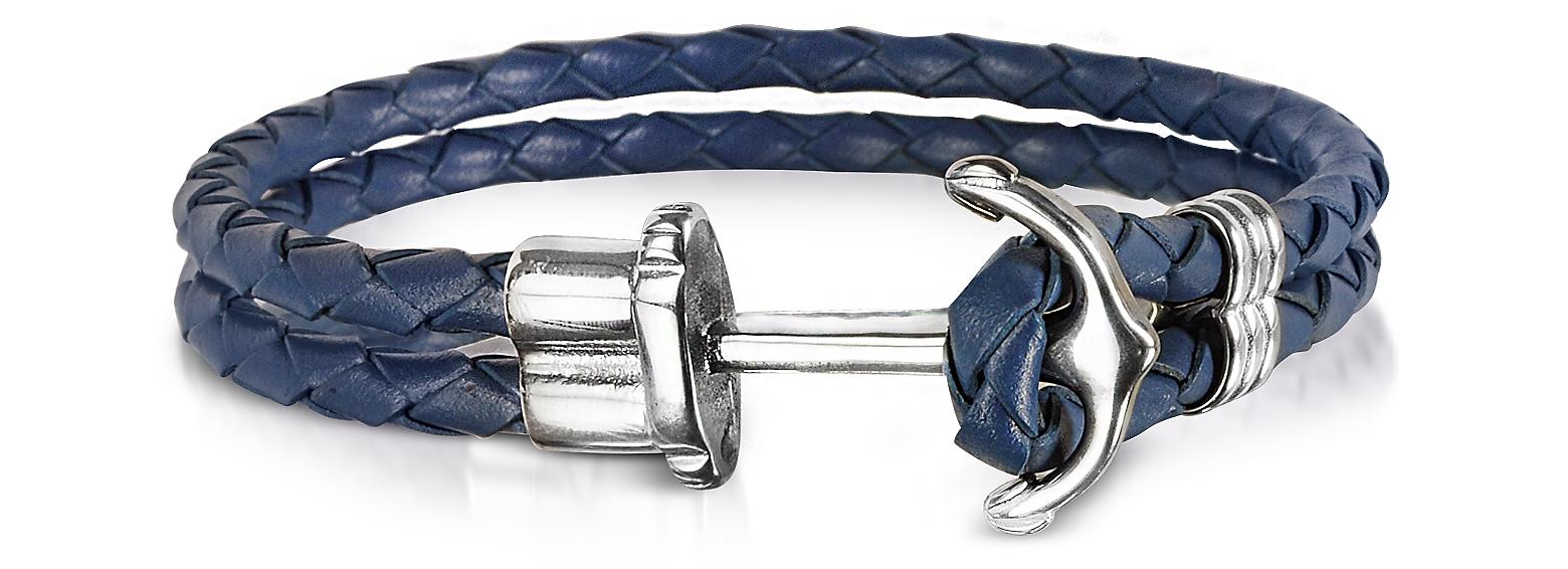 Navy Blue Leather Men's Bracelet w/Anchor