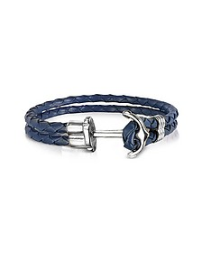 Navy Blue Leather Men's Bracelet w/Anchor