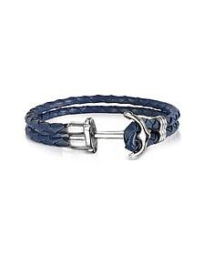 Brazalete para Hombre de Cuero Azul Marino con Ancla