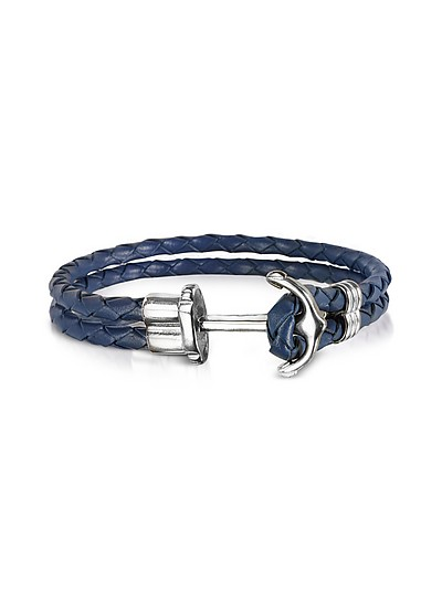 Navy Blue Leather Men's Bracelet w/Anchor - Forzieri