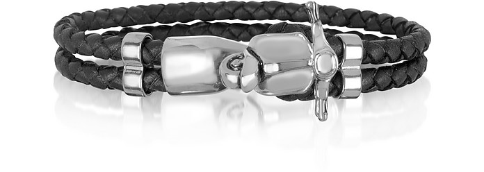 Vespa Brass and Leather Men's Bracelet - Forzieri