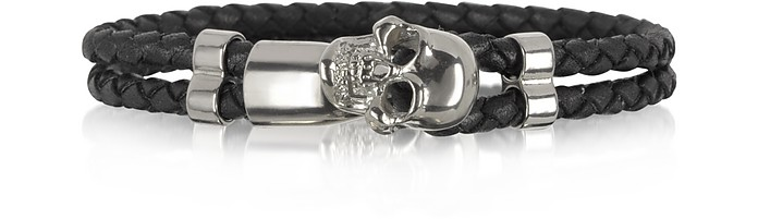 Skull Silver Tone Brass and Leather Men's Bracelet  - Forzieri
