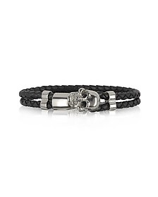 Skull Silver Tone Brass and Leather Men's Bracelet