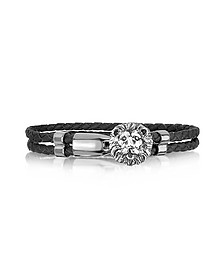 Lion Stainless Steel and Leather Men's Bracelet
