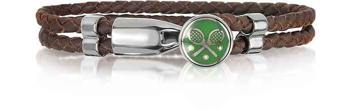 Green Tennis Rackets Metal and Leather Men's Bracelet - Forzieri
