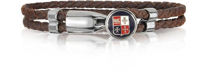 Blue Navy Maritime Republics Metal and Leather Men's Bracelet - Forzieri