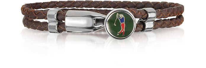 Green Golfer Brass and Leather Men's Bracelet - Forzieri