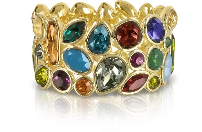 Multicolor Crystal and Metal Bangle - Forzieri