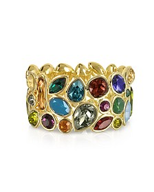 Multicolor Crystal and Metal Bangle - Forzieri
