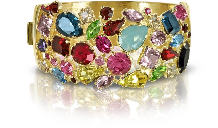 Gold Plated Metal Bangle w/Crystals - Forzieri