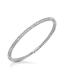 White Diamond Eternity 18K Gold Tennis Bracelet - Forzieri