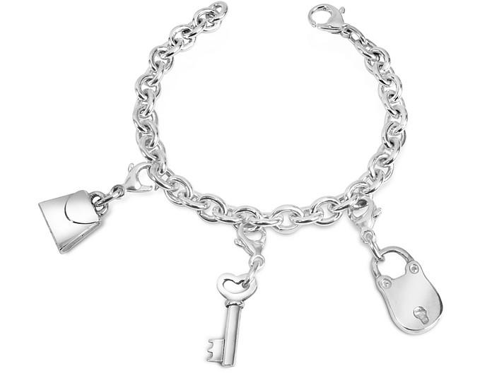 Sterling Silver Lock & Key Bracelet - Forzieri