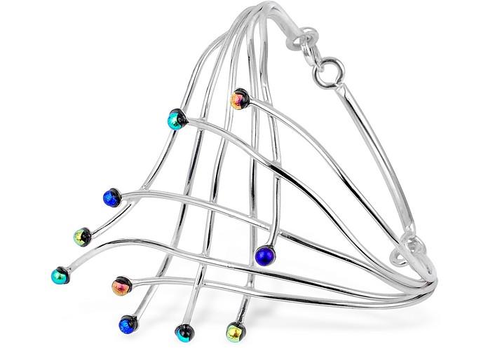 Fireworks Glass Stones Sterling Silver Cuff Bracelet - Forzieri