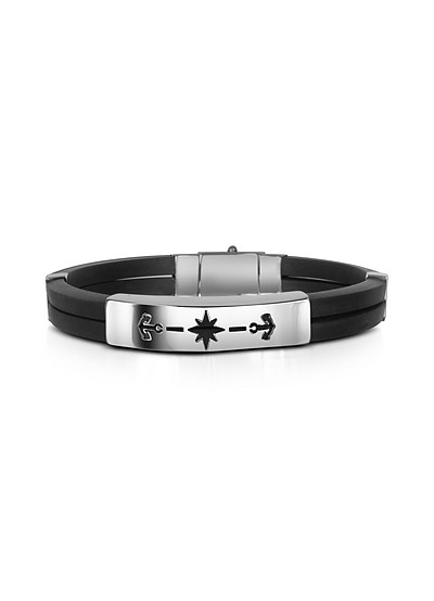Men's Rubber and Stainless Steel Anchor Bracelet - Forzieri