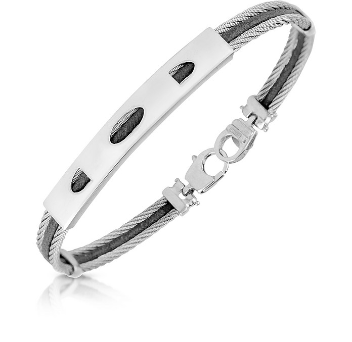 Stainless Steel Bracelet with Rectangular Plaque - Forzieri