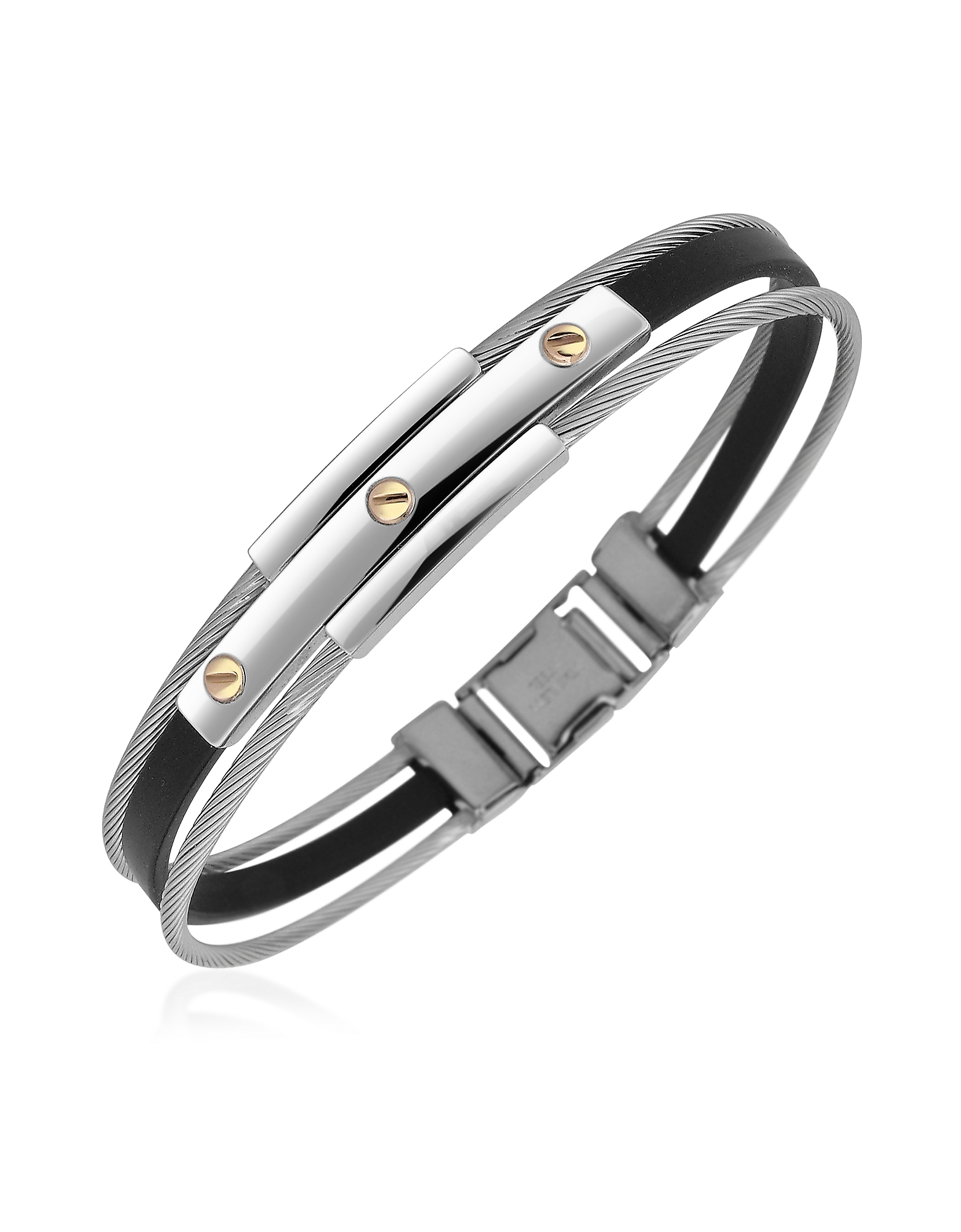 Men's Stainless Steel and Rubber Screws Bracelet