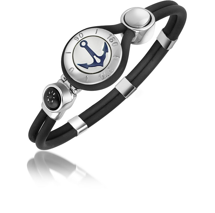 Anchor & Compass Stainless Steel and Rubber Bracelet - Forzieri