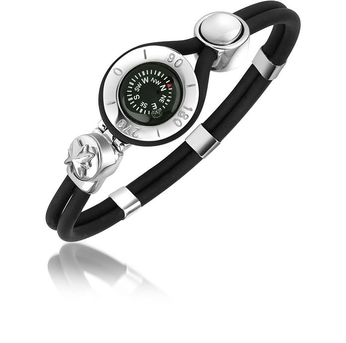 Decorative Compass Stainless Steel and Rubber Bracelet - Forzieri