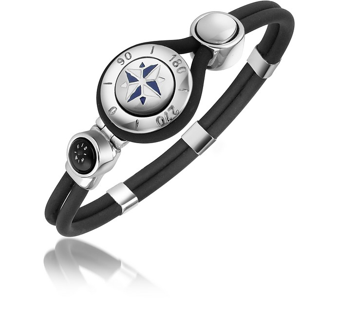 Windrose Stainless Steel and Rubber Bracelet - Forzieri