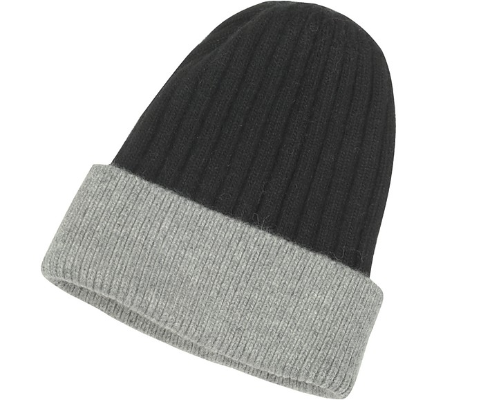 Black & Gray Angora Wool Blend Rib Knit Beanie Hat - Forzieri