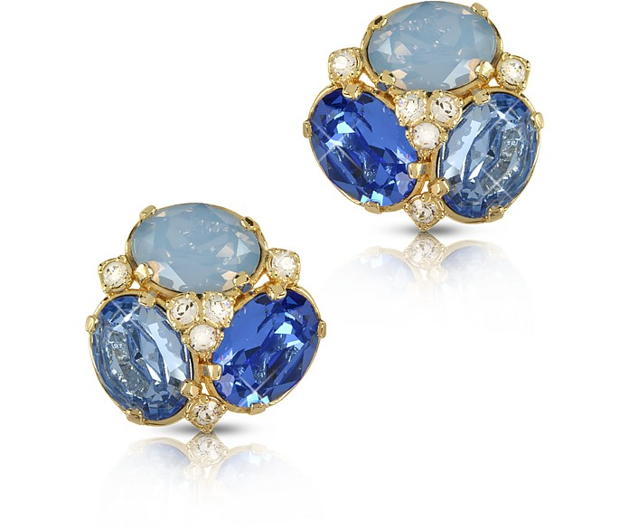 Blue Crystal Clip-on Earrings - Forzieri / フォルツィエリ