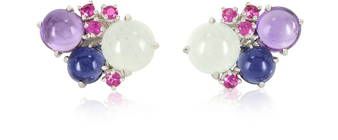 Gemstones 18K White Gold Earrings - Mia & Beverly