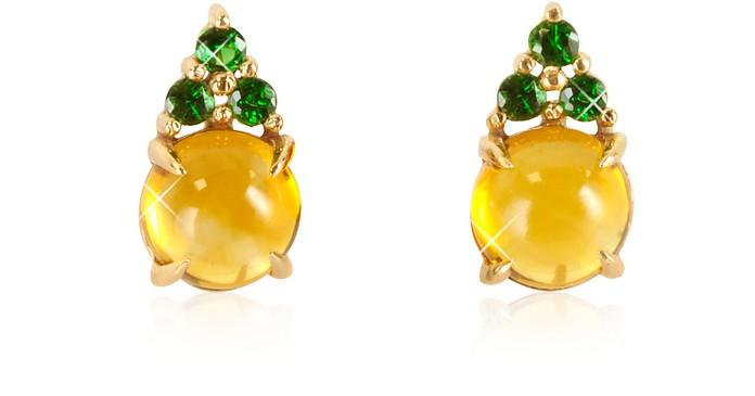 Citrine Quartz and Green Sapphires 18K Rose Gold Earrings
