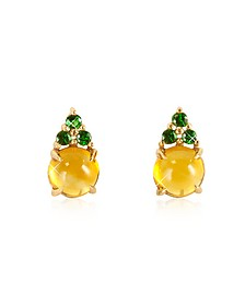 Citrine Quartz and Green Sapphires 18K Rose Gold Earrings - Mia & Beverly