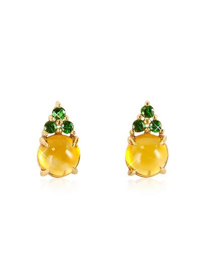 Ohrringe aus Rosegold mit Quartz und grünen Saphiren - Mia & Beverly
