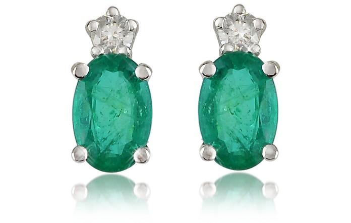 Emerald and Diamond 18K Gold Earrings - Incanto Royale