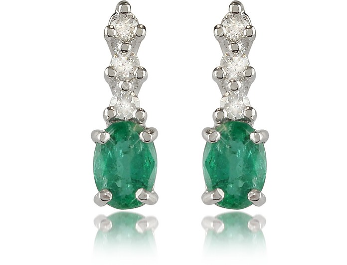 Emerald and Diamond 18K Gold Drop Earrings - Incanto Royale