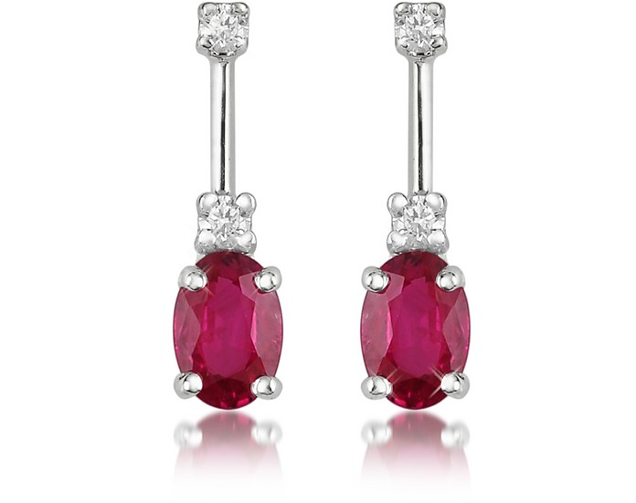Ruby and Diamond 18K Gold Drop Earrings - Incanto Royale