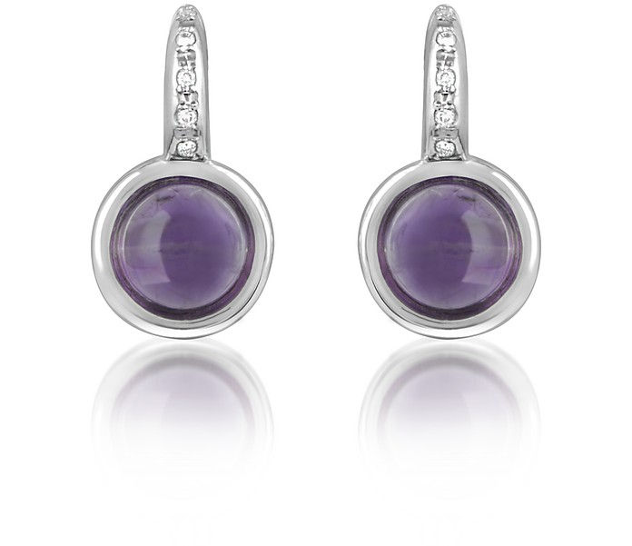 Amethyst and Diamond 18K White Gold Earrings - Mia & Beverly