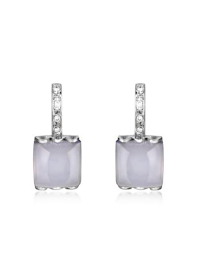 Pendientes en Oro Blanco 18K con Calcedonia y Diamantes - Mia & Beverly