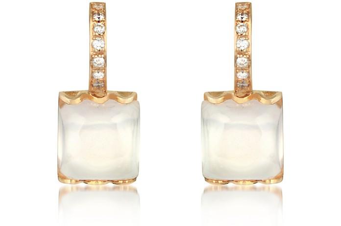 Rose Quartz and Diamond 18K Gold Earrings - Mia & Beverly