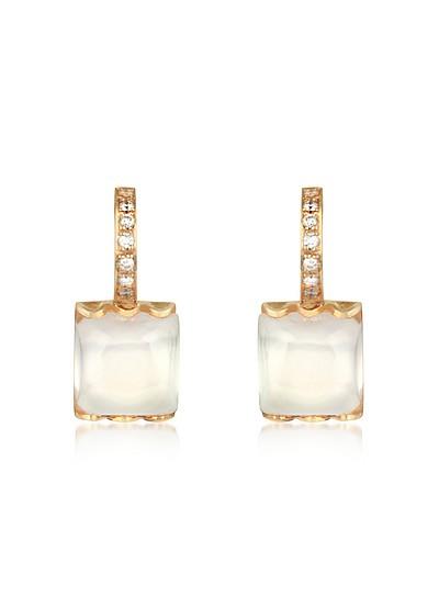 Pendientes en Oro 18K con Cuarzo Rosa y Diamantes - Mia & Beverly