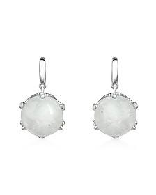 Spectrolite and Diamond 18K Gold Earrings