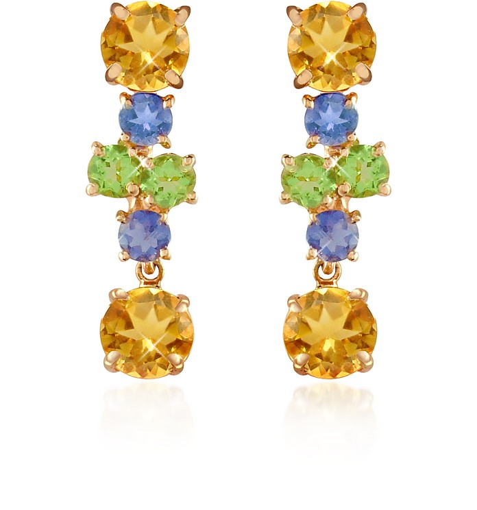 Amethyst and Citrine Flower 18K Gold Earrings - Forzieri