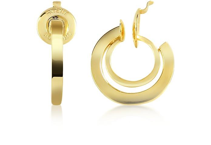 14K Yellow Gold Mini Spring Flat Hoop Earrings - Forzieri