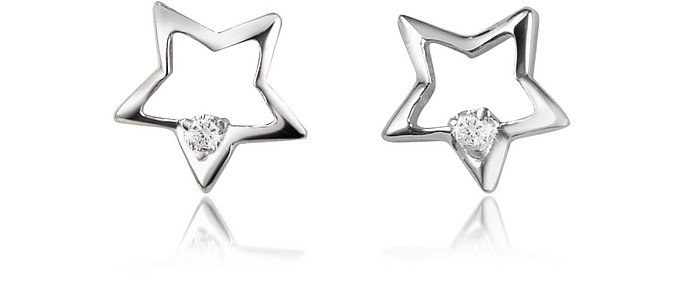 0.04 ct Diamond Star 18K Gold Earrings - Forzieri