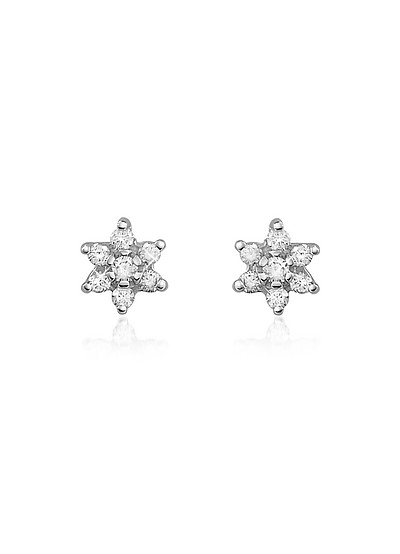 0.25 ct Diamond Flower 18K Gold Earrings - Forzieri