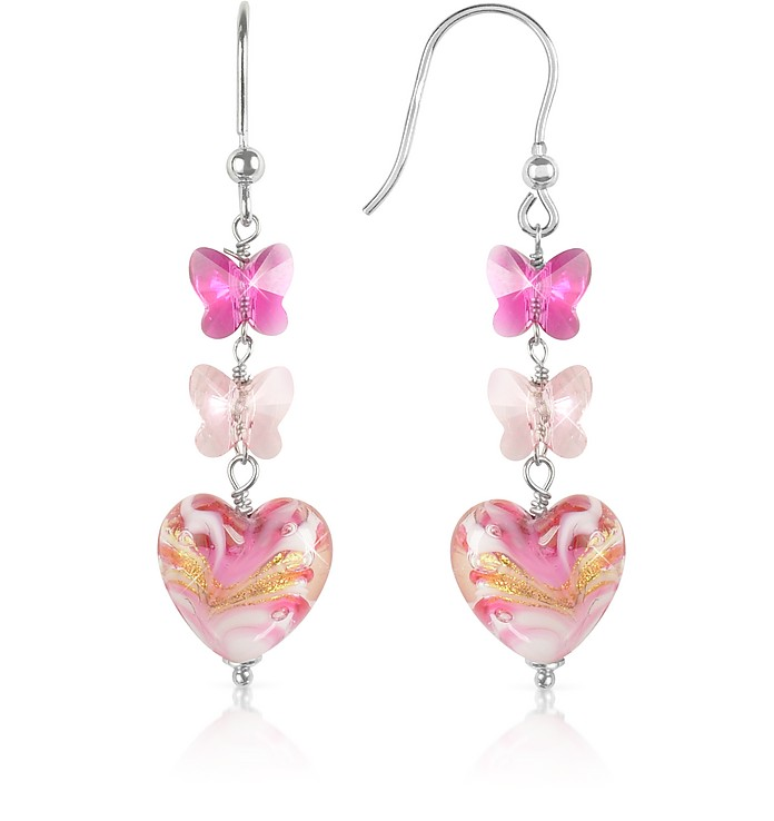 Mare - Pink Murano Glass Heart Drop Earrings - House of Murano